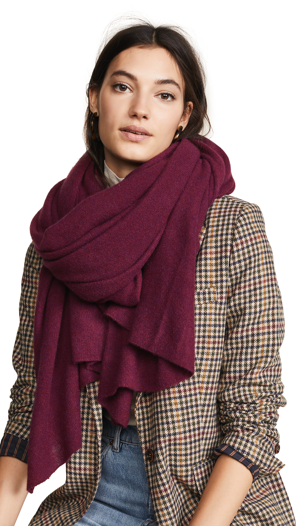 White + Warren Cashmere Travel Wrap Scarf In Claret Heather