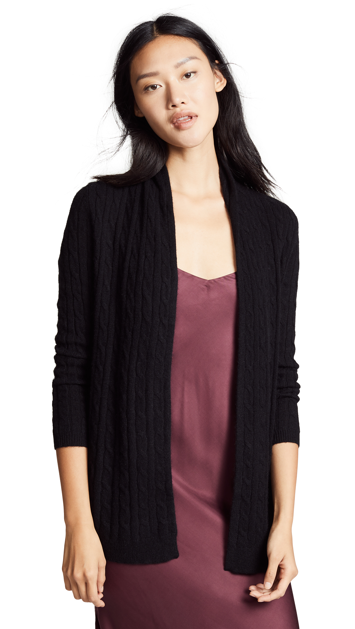 White + Warren Cable Cashmere Cardigan In Black