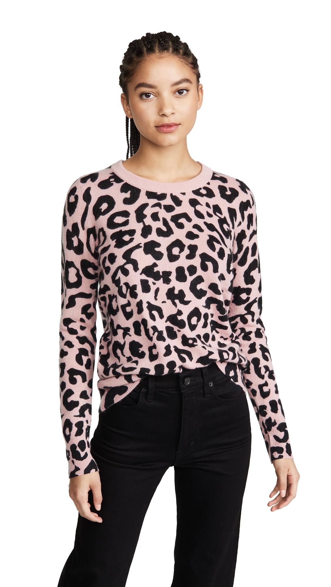Buy White + Warren online - photo of White + Warren Leopard Essential Cashmere Sweater