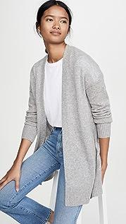 White + Warren 罗纹饰边开司米羊绒开襟衫