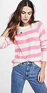 White + Warren Printed Stripe Essential Cashmere Sweatshirt
