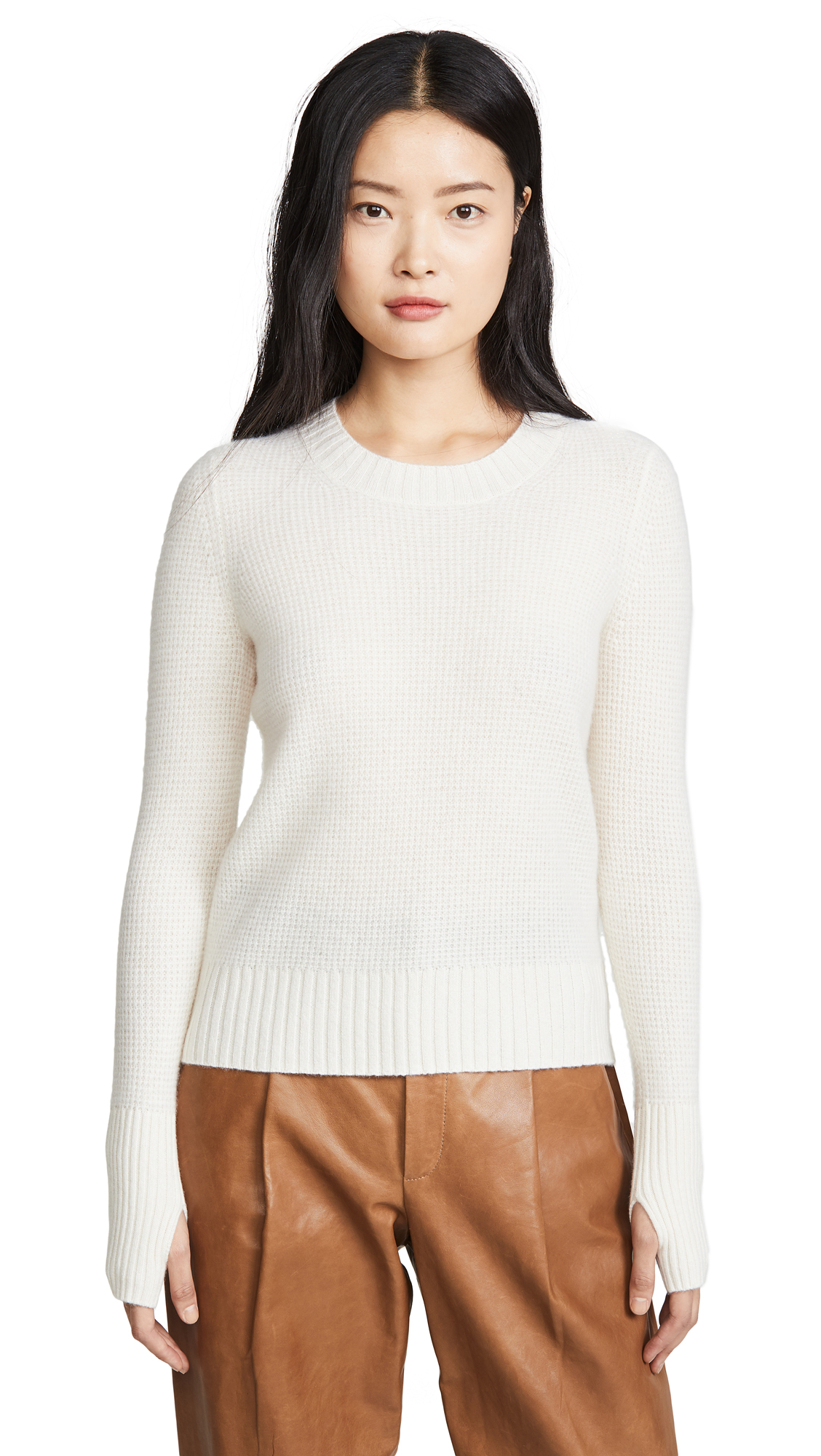 Buy White + Warren online - photo of White + Warren Cashmere Slim Thermal Crew with Thumbholes