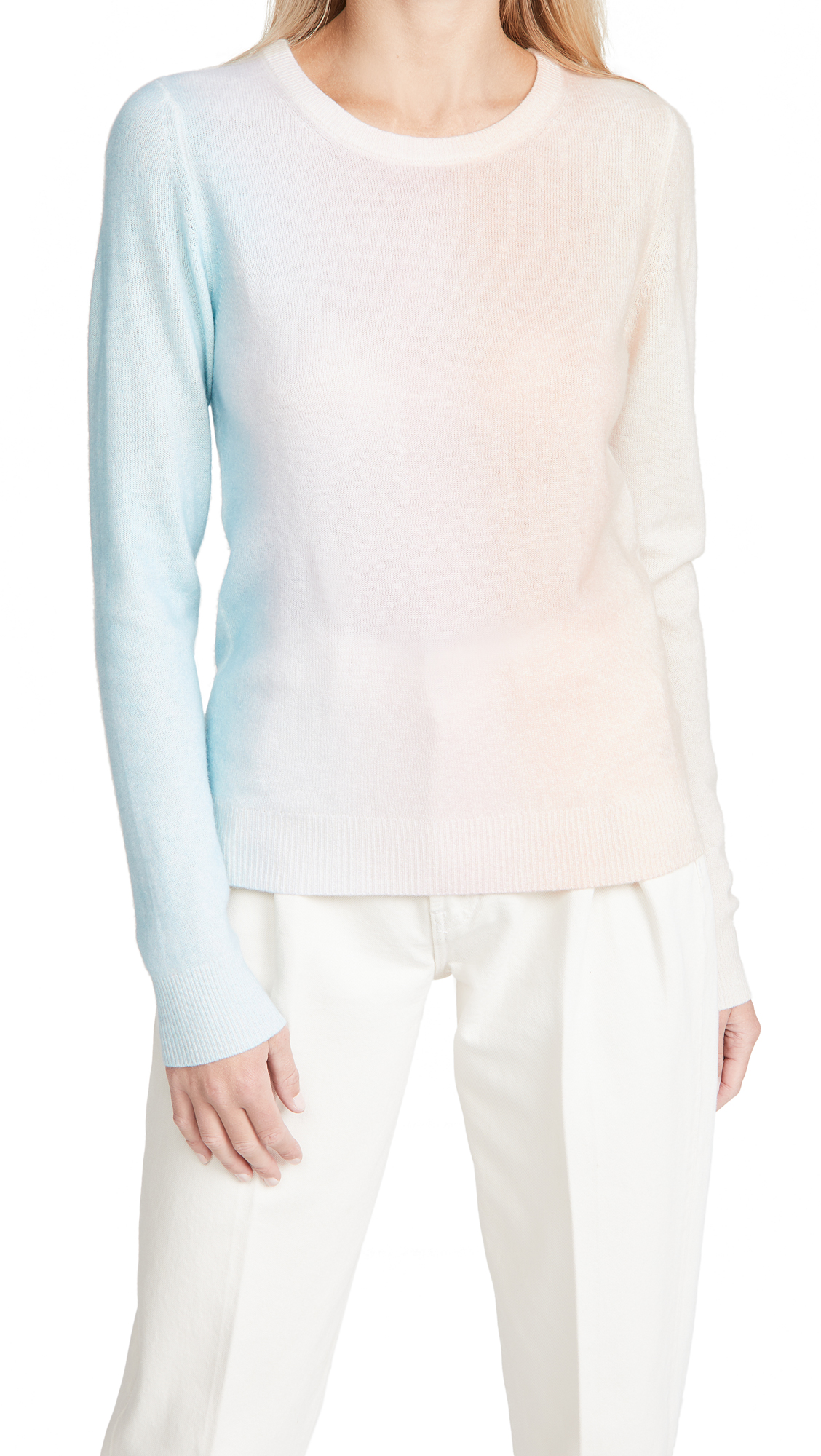 White + Warren Cashmere Ombre Painted Crew Neck Sweater