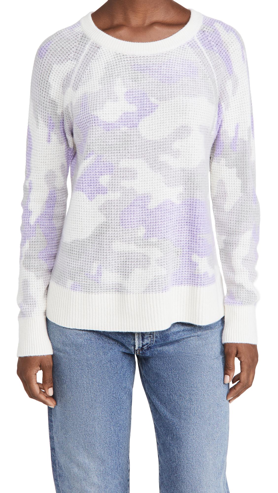 White + Warren Cashmere Camo Thermal Sweatshirt