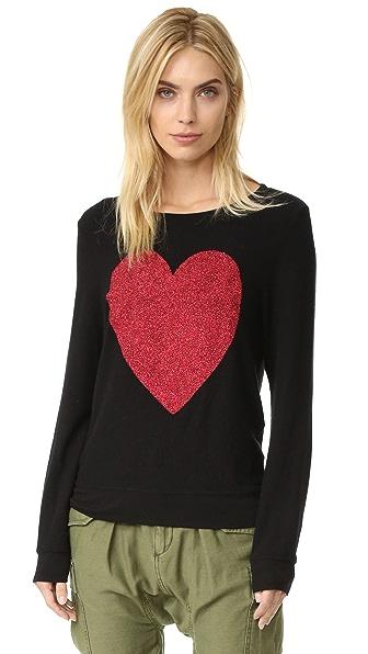 Wildfox Sparkle Heart Baggy Beach Pullover