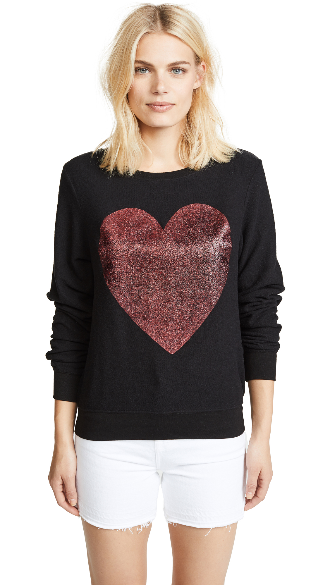 Wildfox Sparkle Heart Baggy Beach Pullover - Jet Black