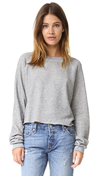 Wildfox Monte Crop Sweatshirt - Heather Vanilla Latte