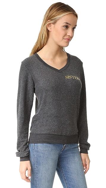 Wildfox Hey Sister Baggy Beach V Neck Sweatshirt