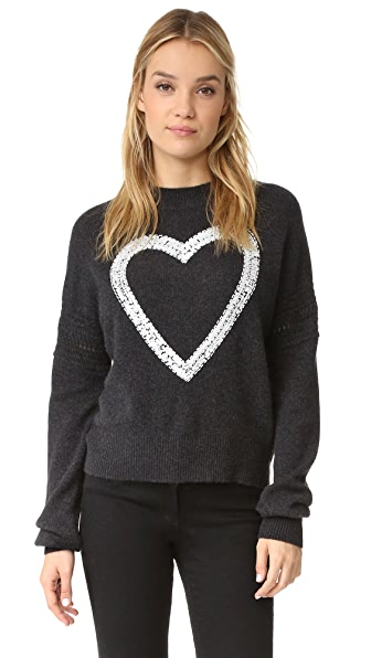 Wildfox Glitz Heart Cashmere Sweater
