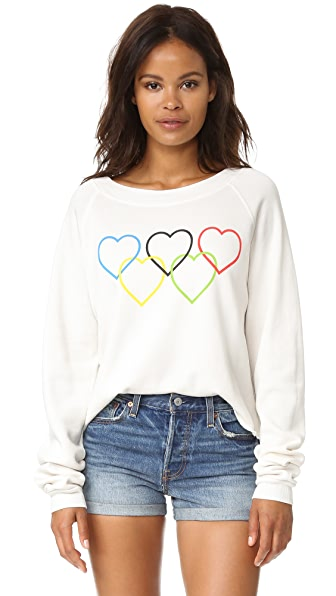 Wildfox Olympic Hearts Cropped Sweatshirt