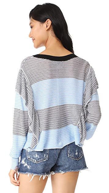 Wildfox Aura Striped Ruffle Sweater
