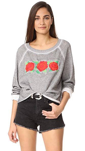 Wildfox Three Rose Embroidered Sweatshirt