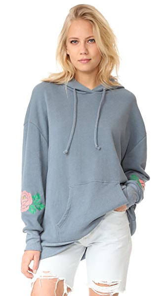 Wildfox Rose Embroidered Sweatshirt