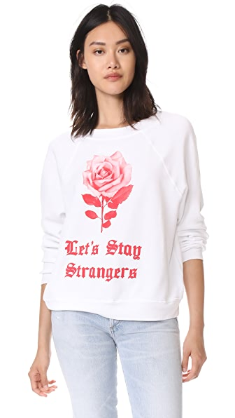 Wildfox Let's Stay Strangers Sweatshirt Tee In Clean White