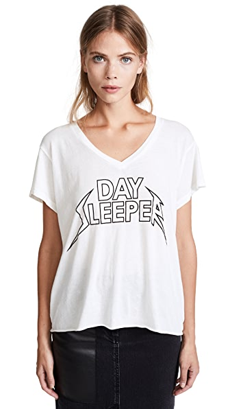 Wildfox Day Sleeper Romeo V Neck Tee In Vintage Lace