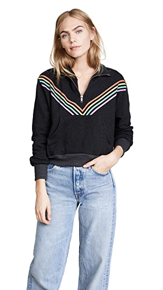 Wildfox '80s Track Star Soto Warm Up Sweatshirt In Black