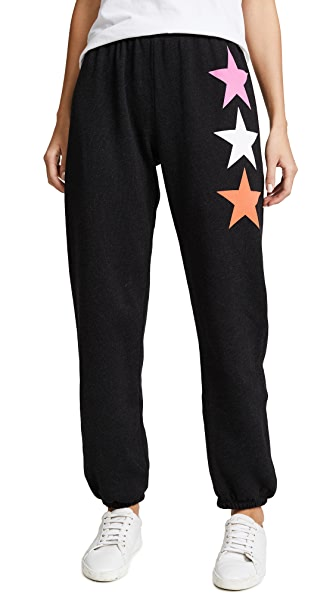 Wildfox Arcade Star Easy Sweatpants In Heathered Black