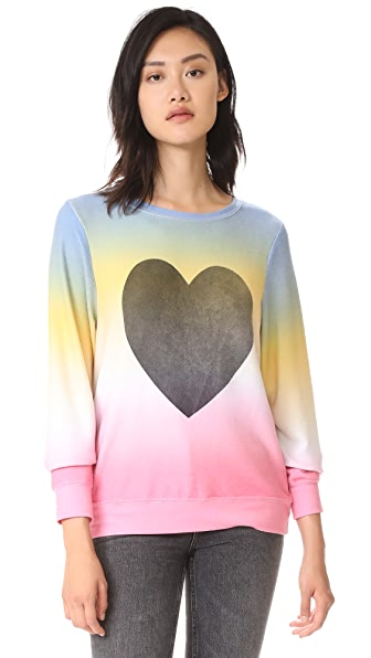 Wildfox Perfect Heart Baggy Sweatshirt In Multi