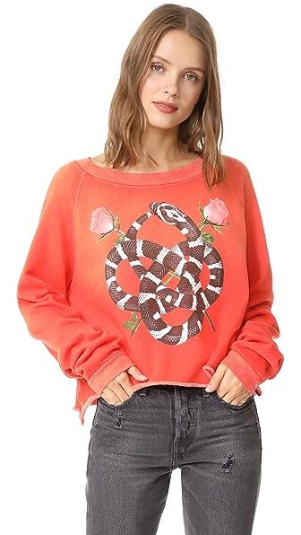 Wildfox Snake Charmer Monte Crop Sweatshirt In Red