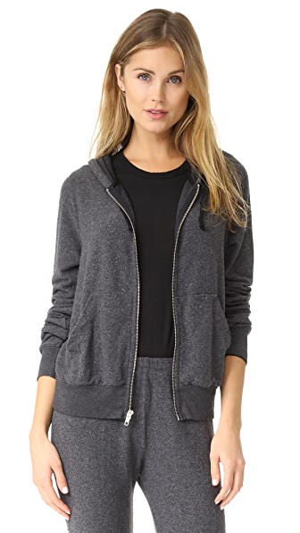 Wildfox Carta Zip Hoodie In Heathered Black