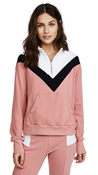 Wildfox Blocked Soto Warm Up Top In Mulled Rose Multi