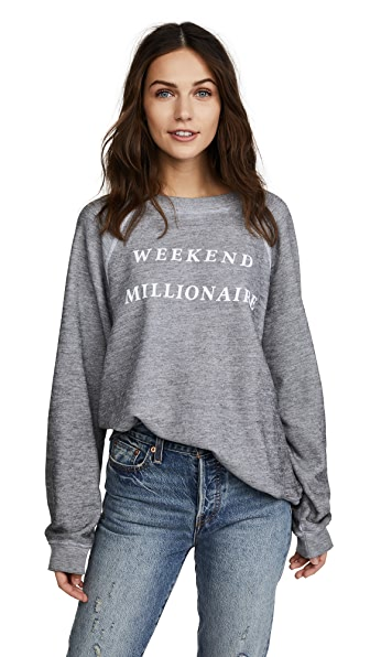 Wildfox Weekend Millionaire Sweater Top In Heather