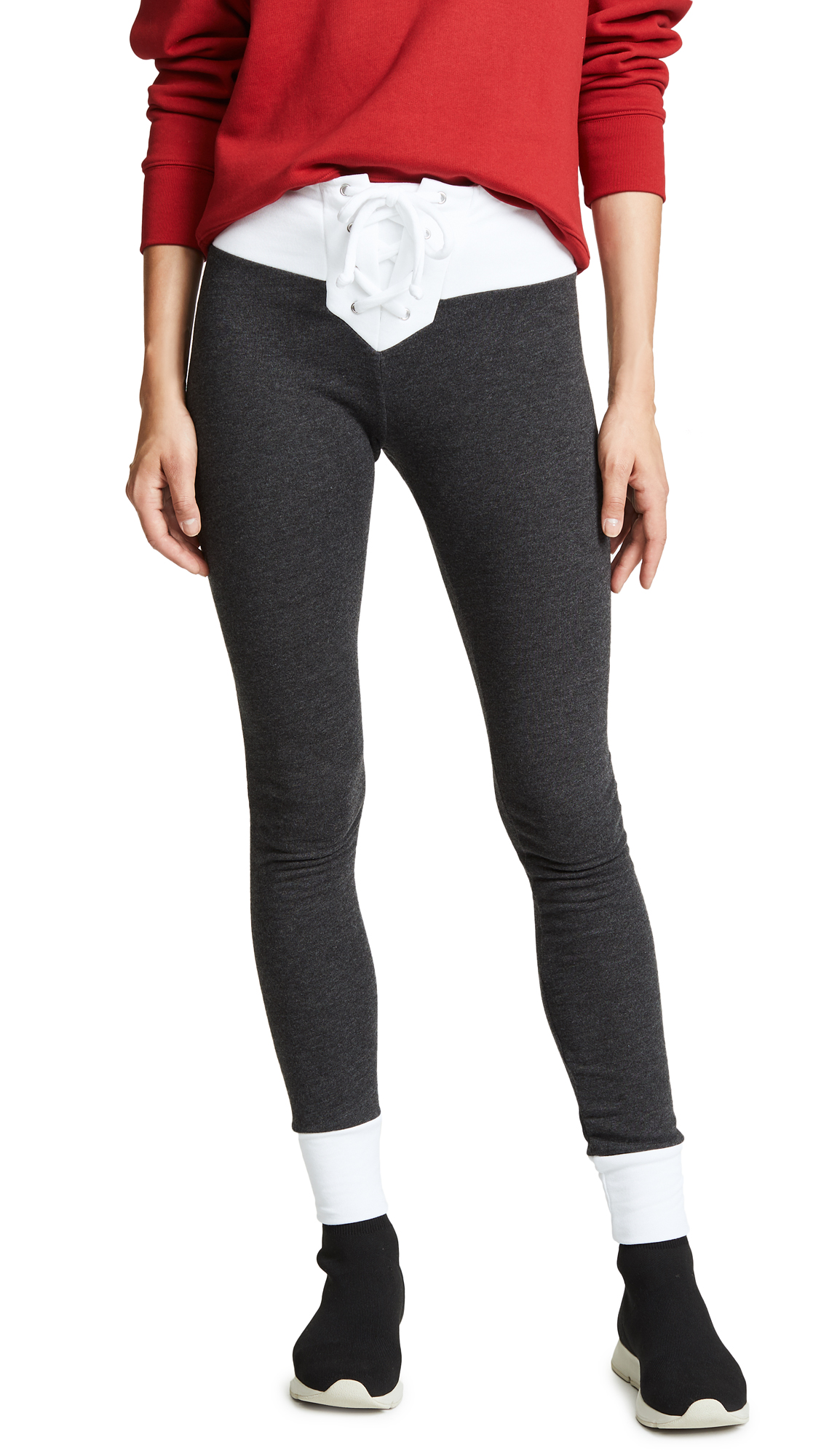 Wildfox Contrast Fifi Skinny Sweats In Clean Black/Clean White