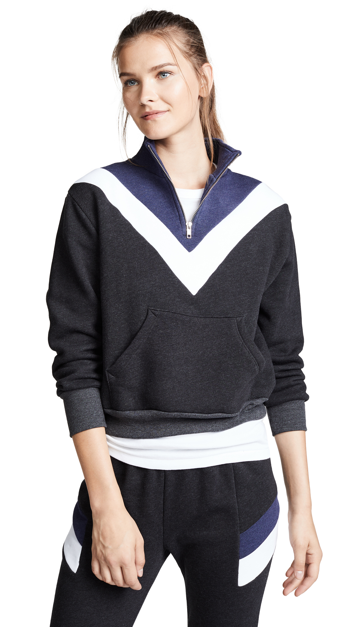Wildfox Blocked Soto Warm Up Pullover In Clean Black