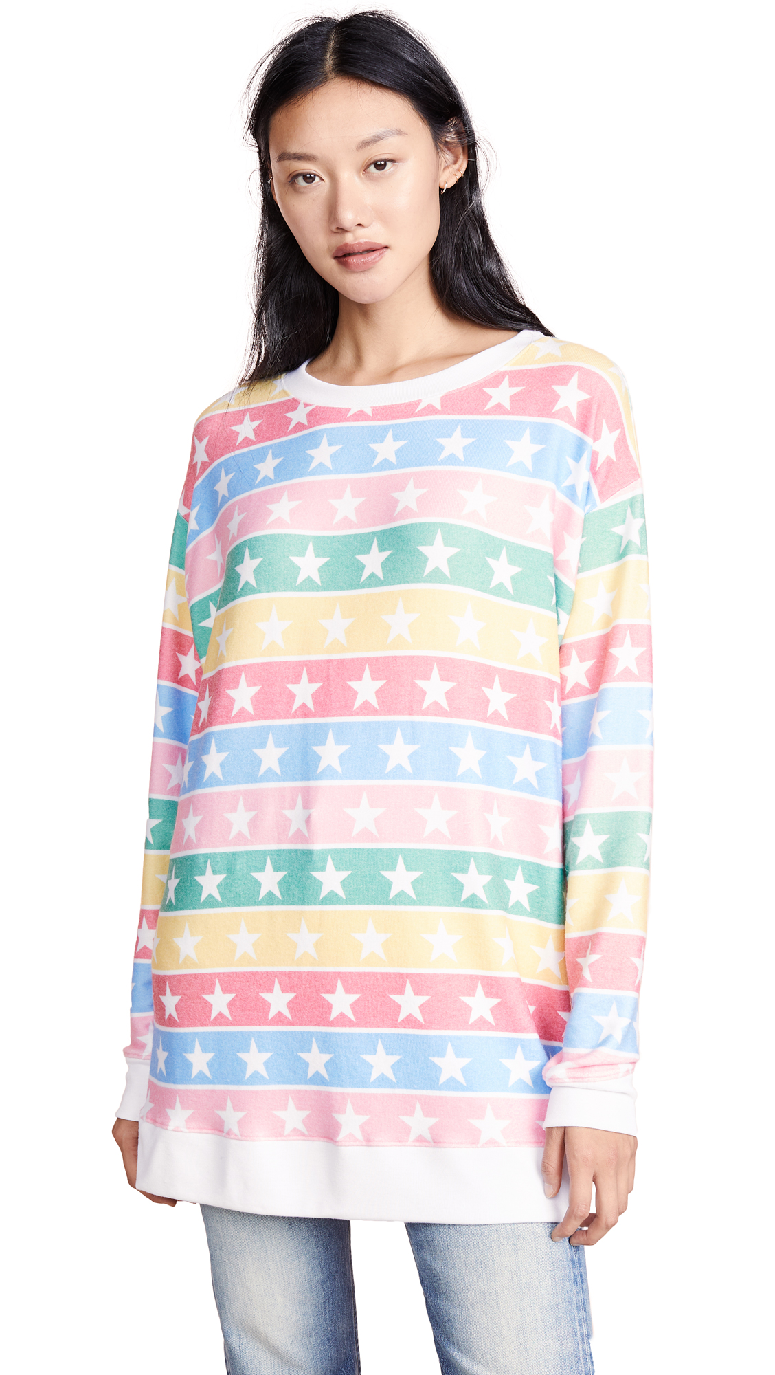 Wildfox Stellar Stripe Roadtrip Sweatshirt In Multi/Clean White