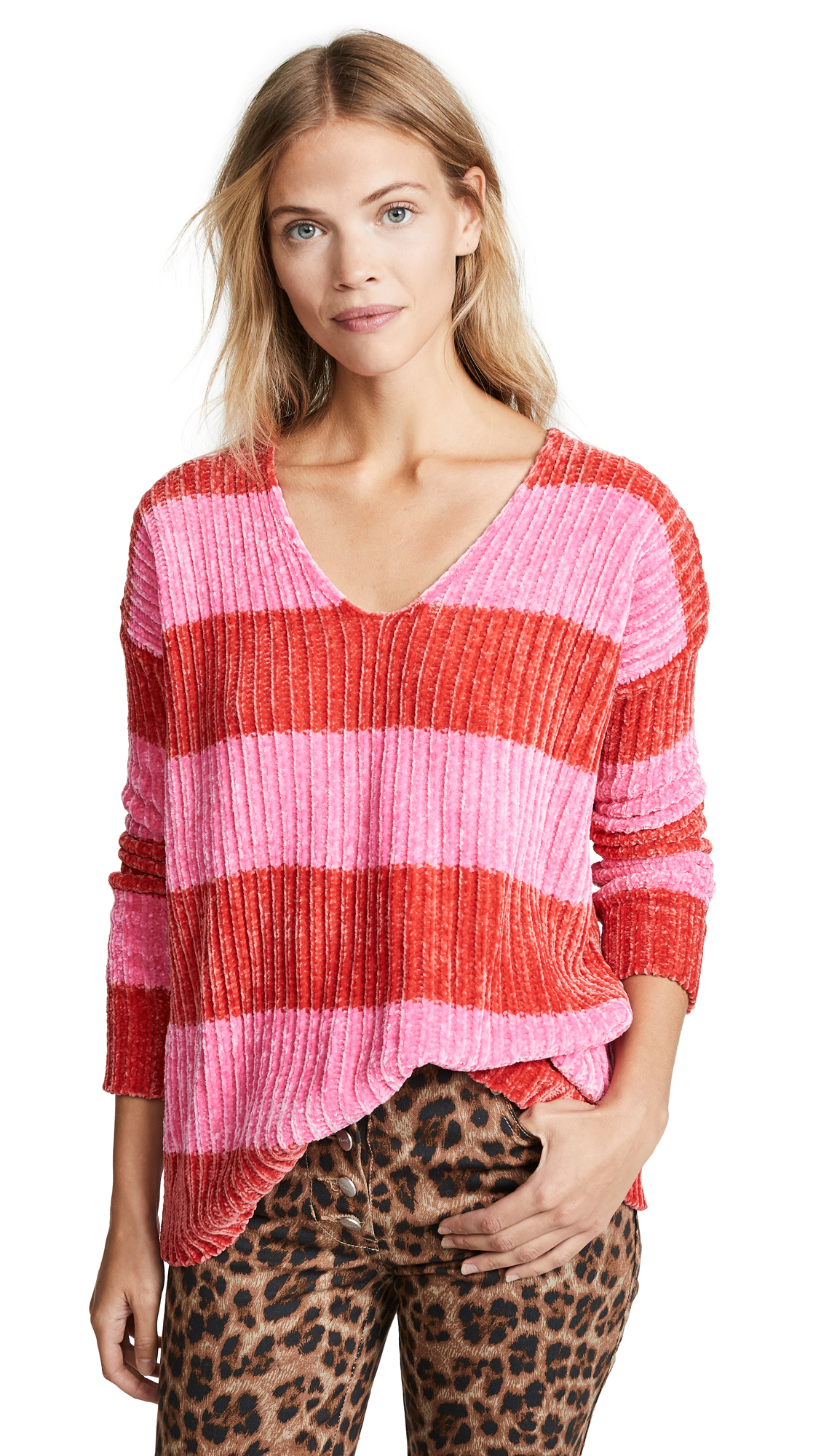 Wildfox Shine Clark Sweater In Red & Neon Magenta