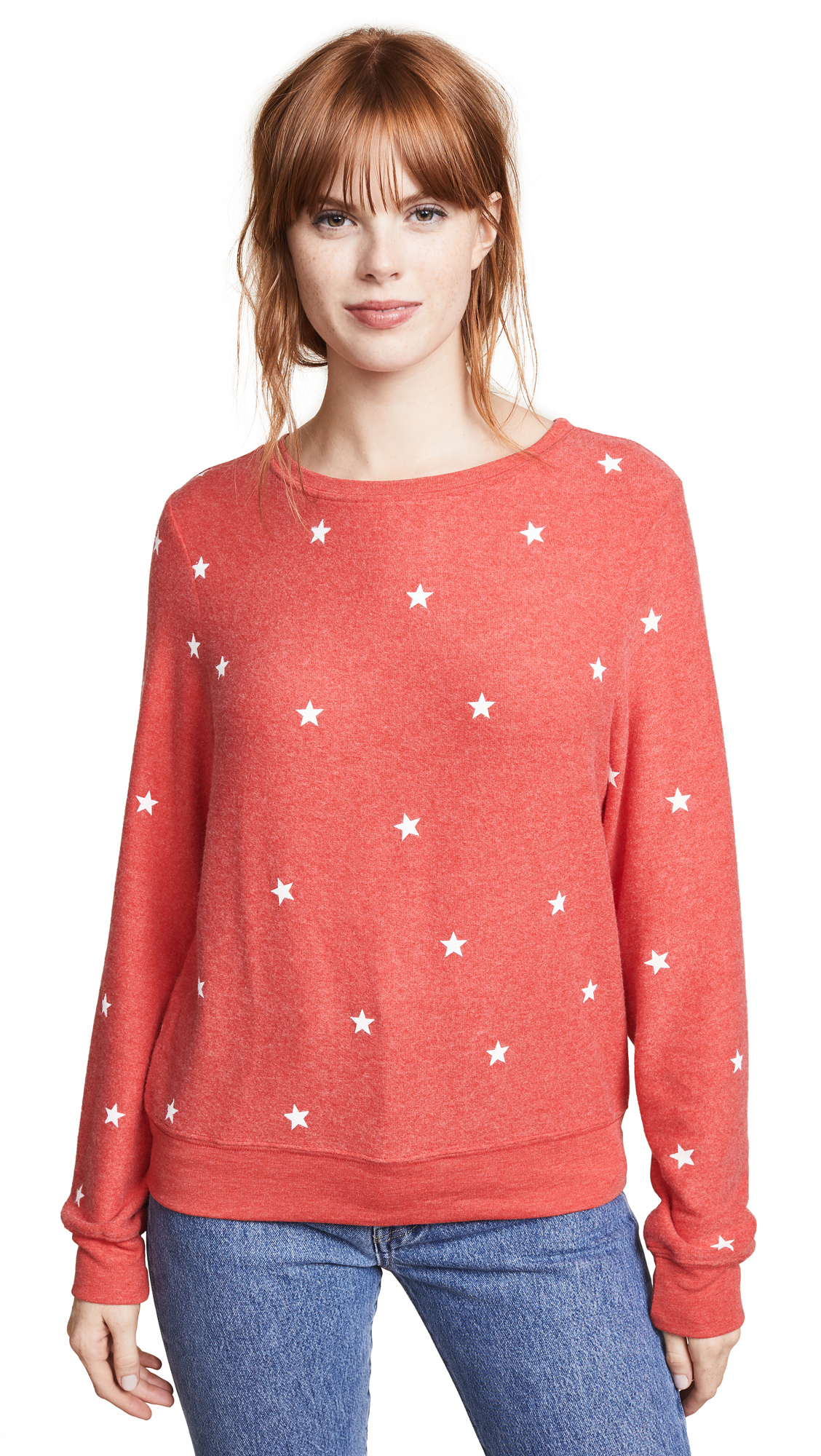 Wildfox Star Baggy Beach Jumper Sweatshirt In Hot Lipstick