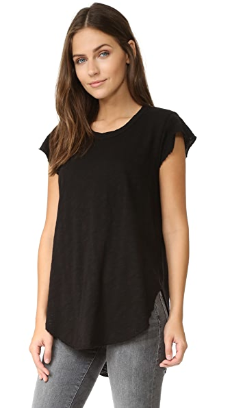 Wilt Raw Edge Flutter Shirttail Top In Black