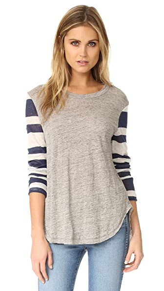Wilt Stripe Mix Shirttail Tee - Navy Stripe