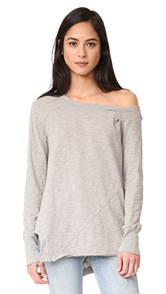 Wilt One Shoulder Slouchy Tunic Long Sleeve - Grey Heather