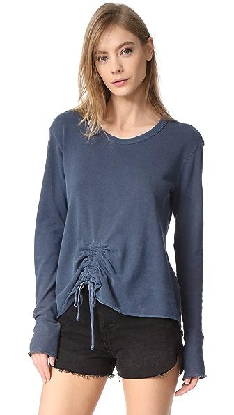 Wilt Drawstring Tie Front Sweatshirt In Sulfur
