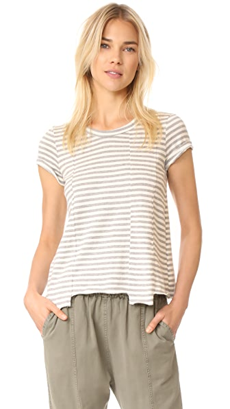 Wilt Baby Fractured Striped Short Sleeve Tee - Grey Heather/Snow