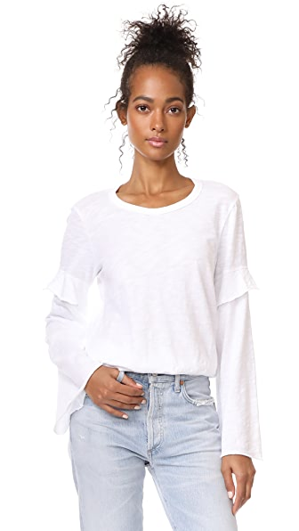 Wilt Easy Layered Sleeve Tee In White