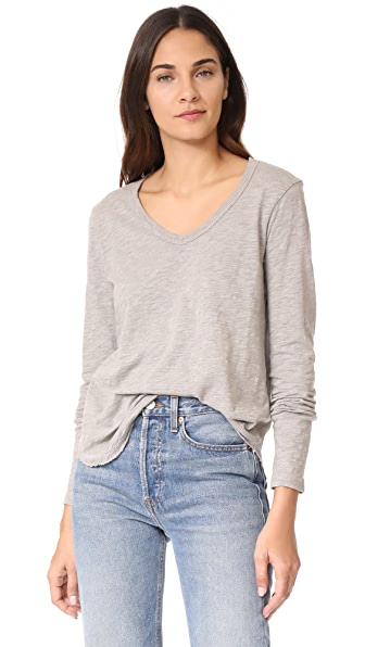Wilt Rib V Neck Shrunken Tee - Grey Heather