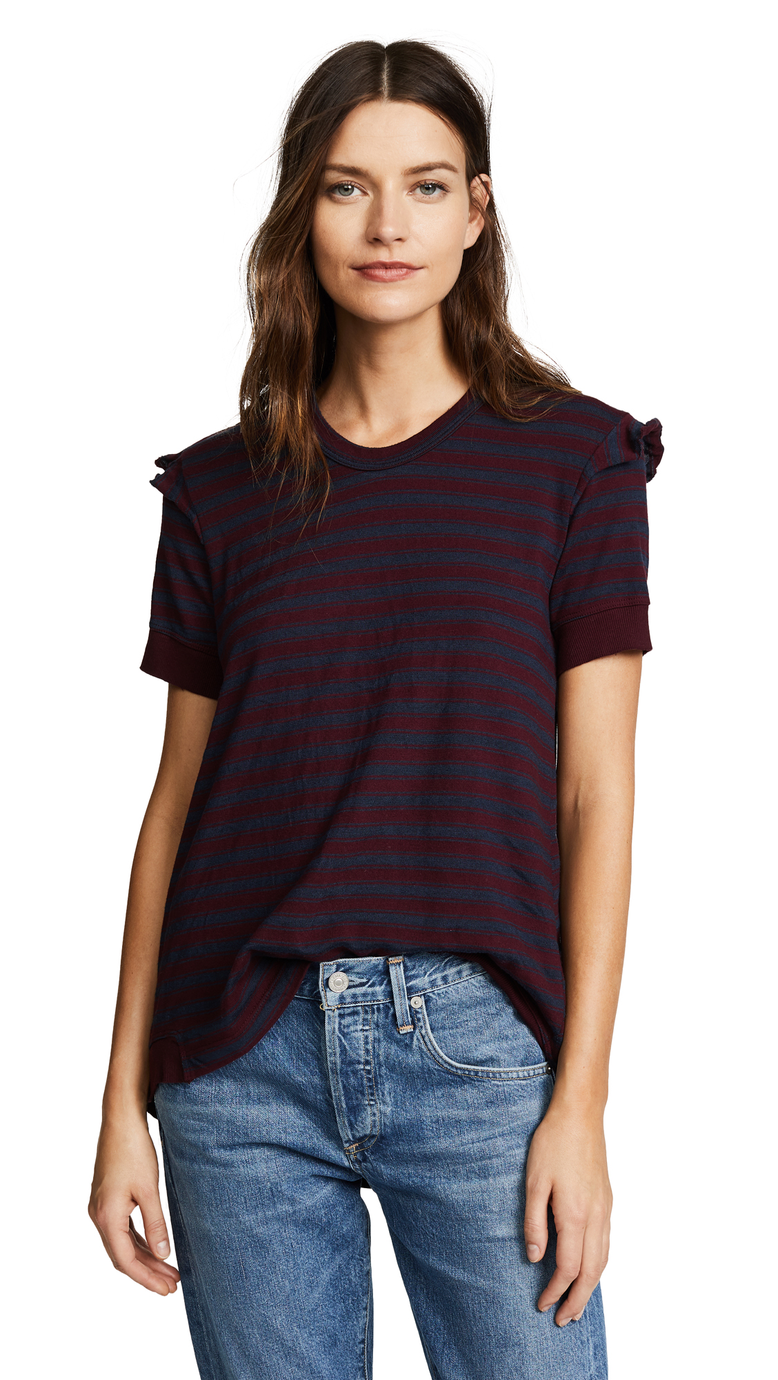 Wilt Slouchy Double Sleeve Striped Tee