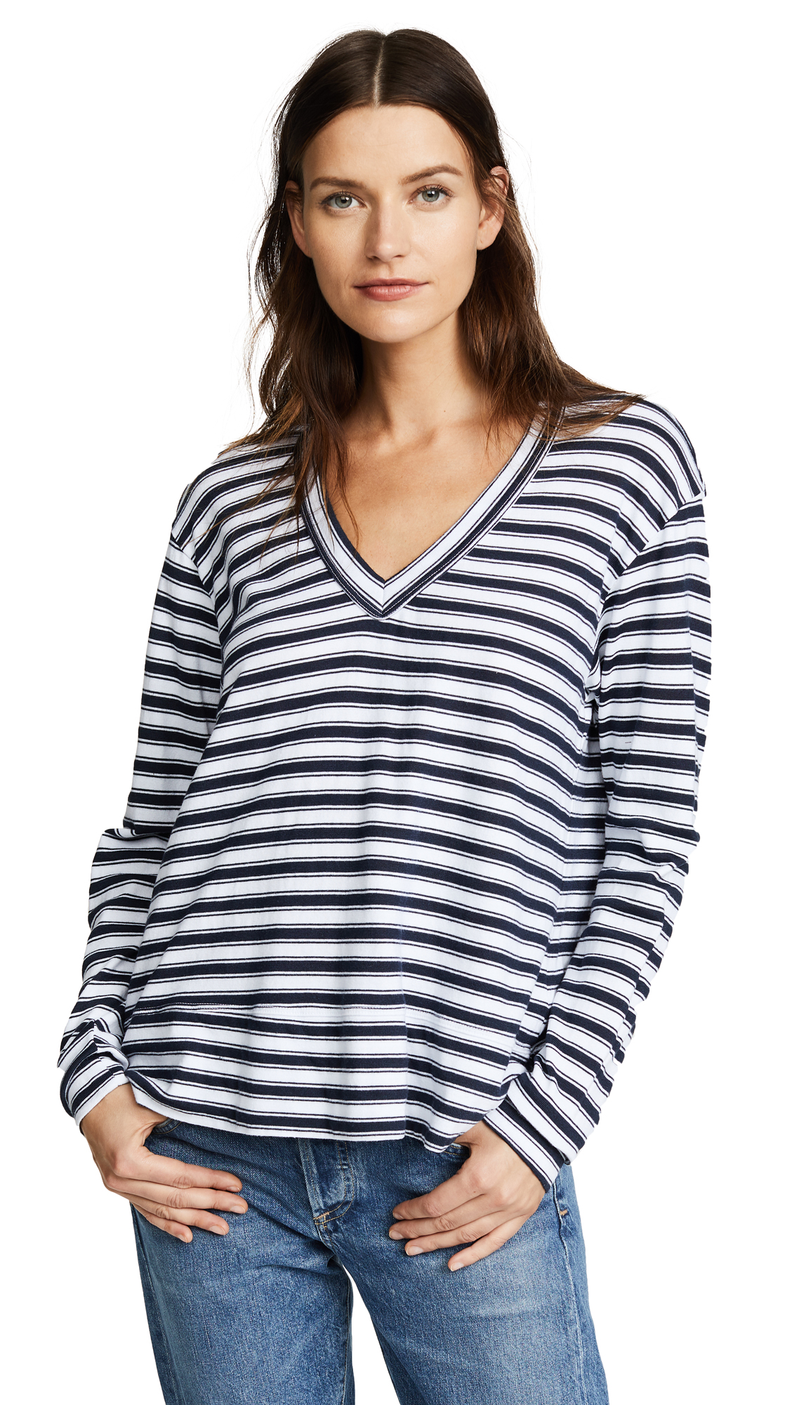 Wilt Slouchy V Neck Striped Tee