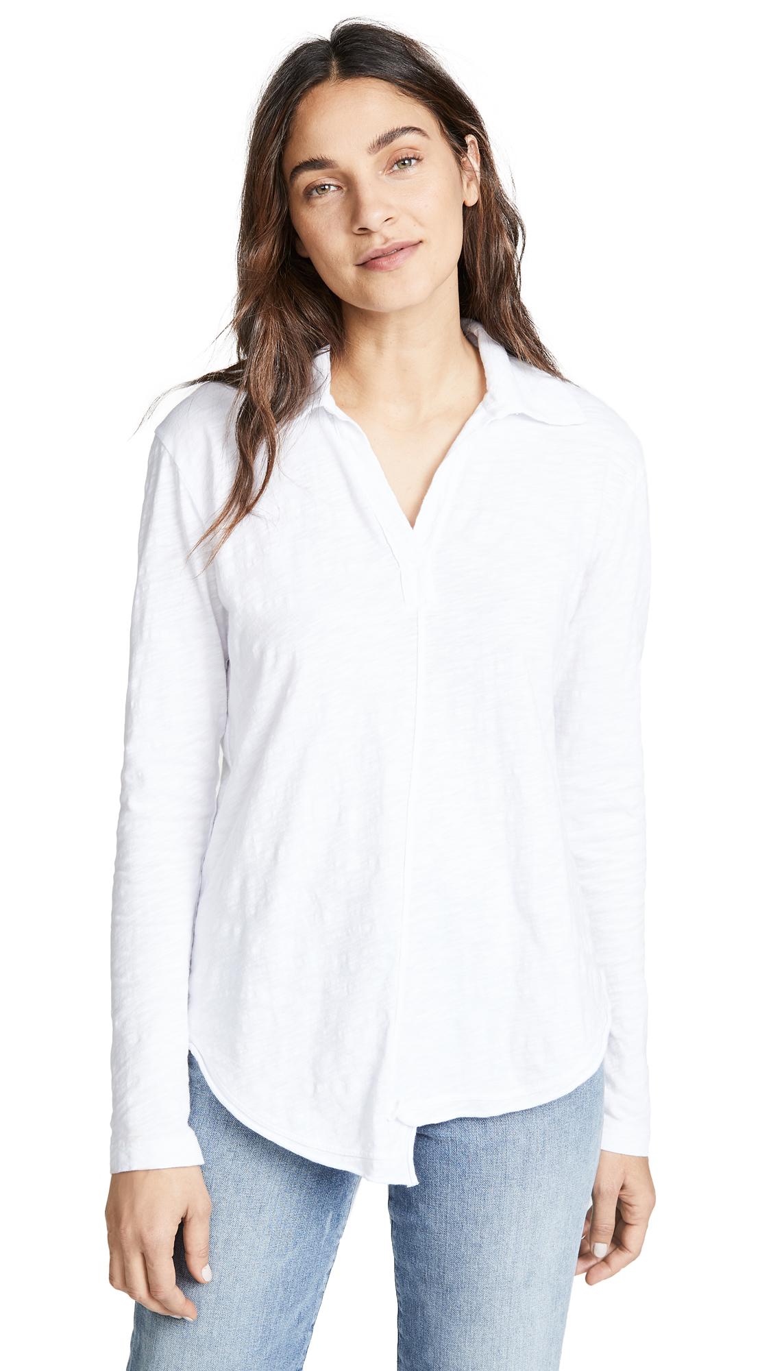WILT Shrunken Collar Shirttail Tee in White