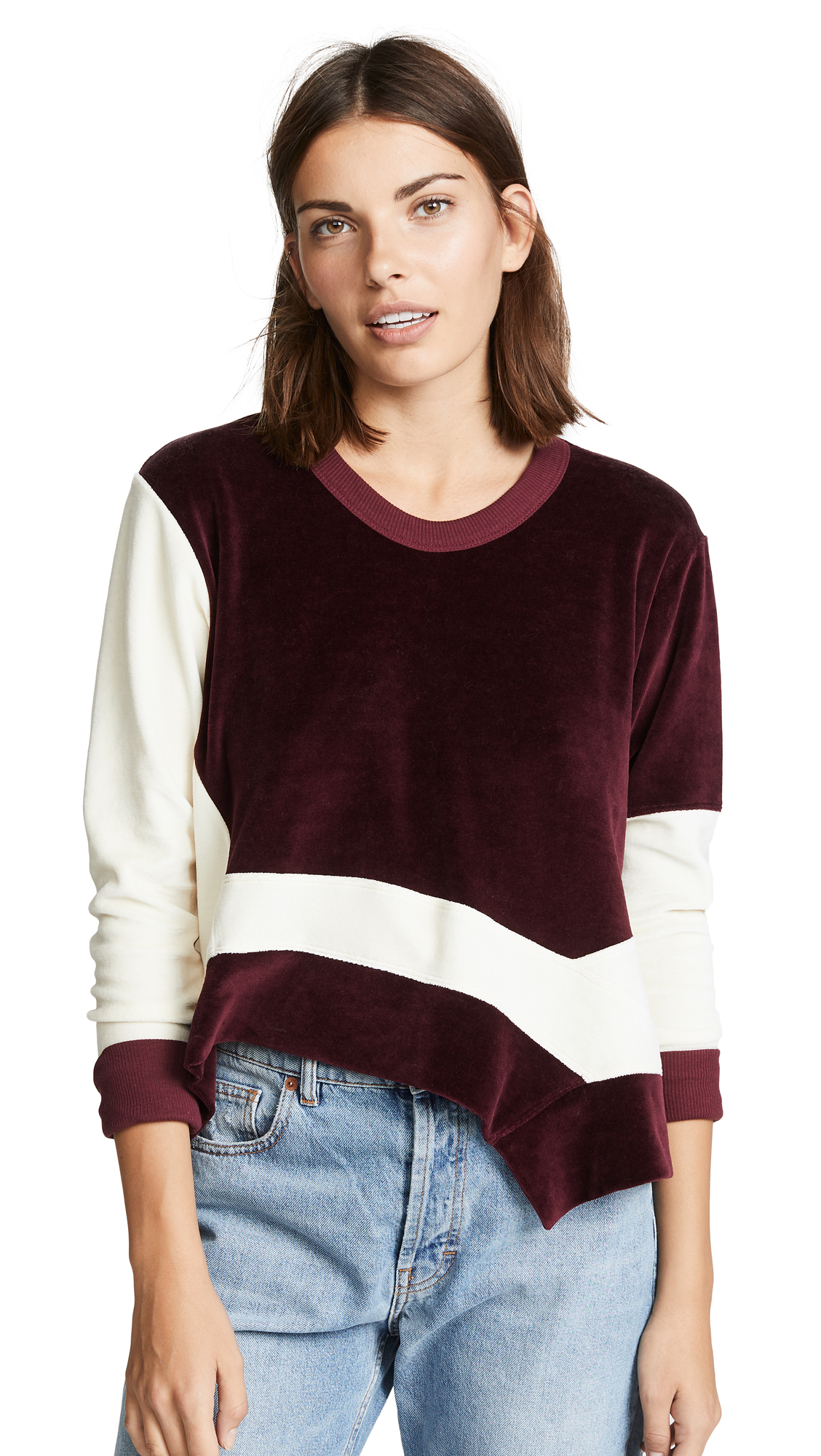 Wilt Slant Mixed Easy Crew Sweatshirt In Garnet/Cream
