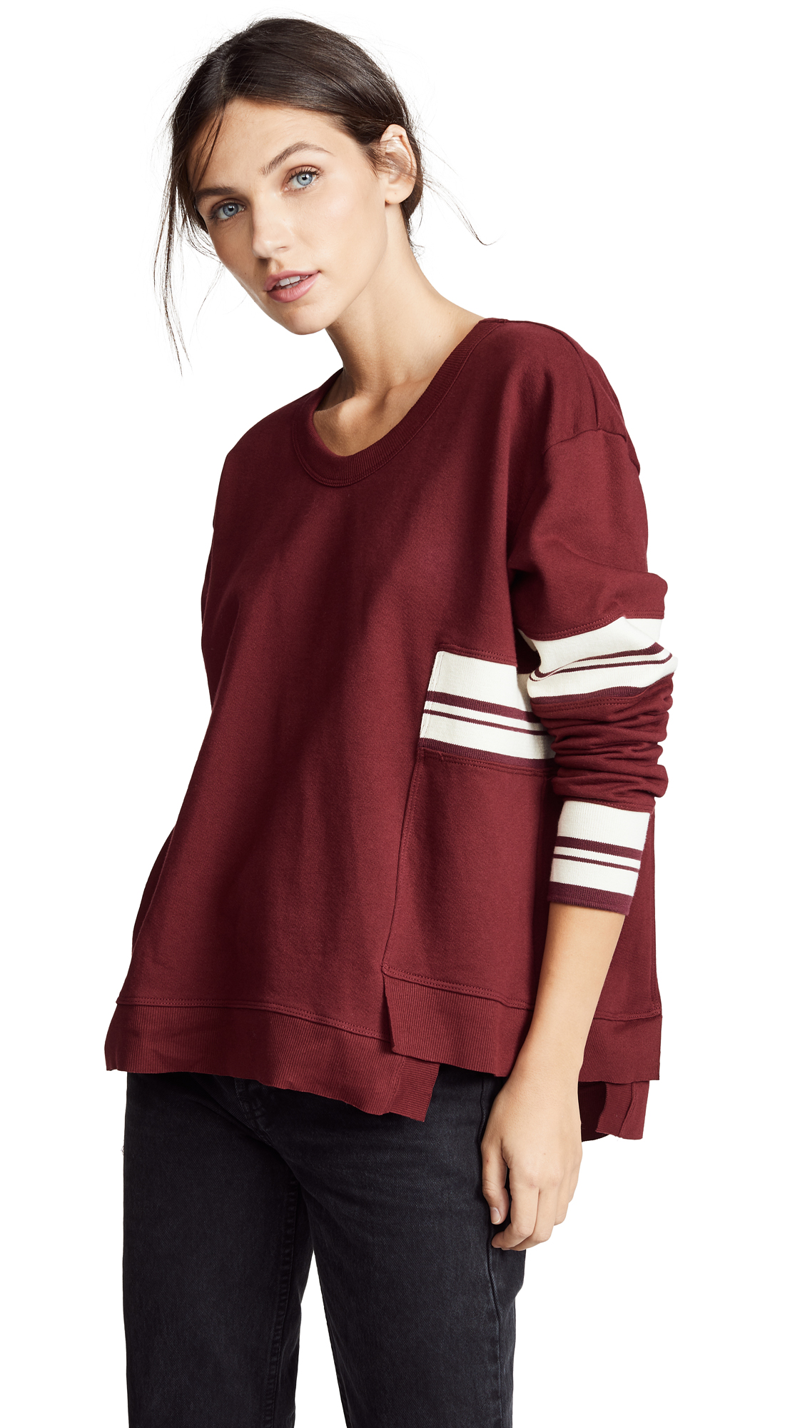 Wilt Shifted Big Crew Sweatshirt In Garnet