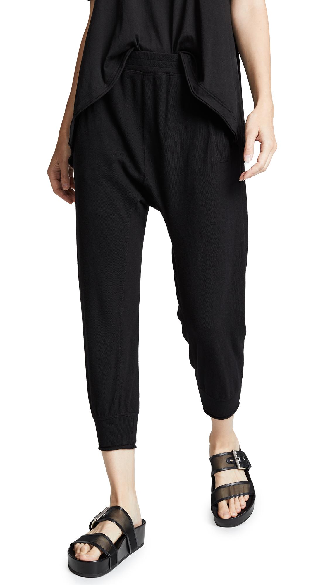 WILT Shrunken Sweatpants W Rolled Rib Cuff in Black