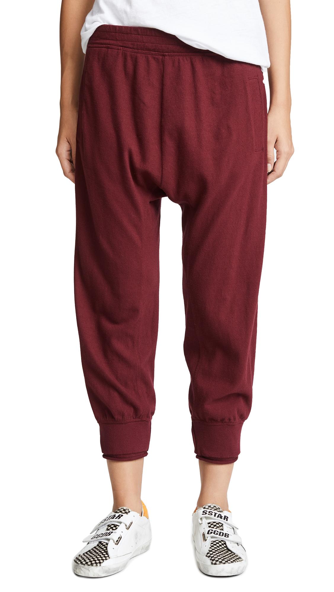 WILT Shrunken Sweatpants W Rolled Rib Cuff in Garnet