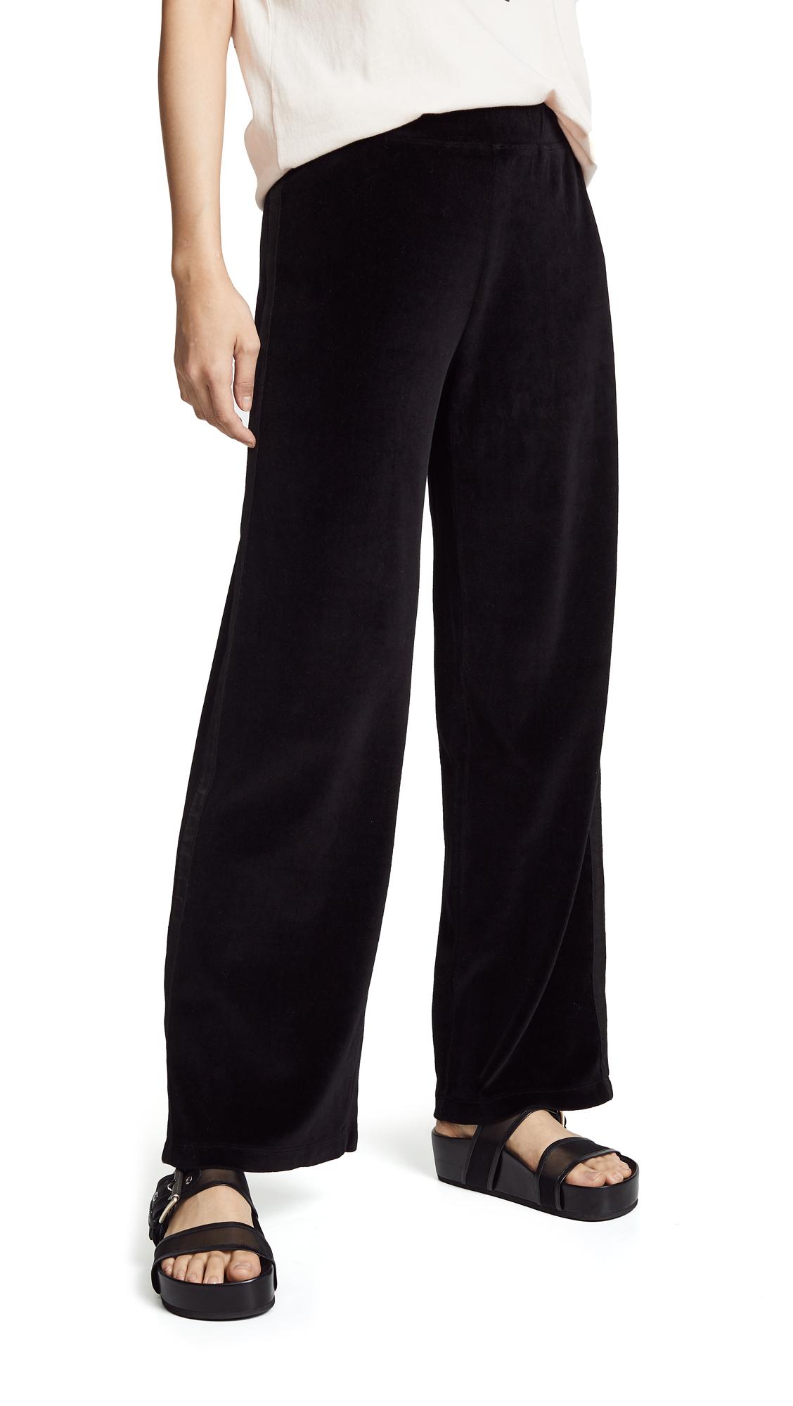 WILT Velour Wide Leg Tuxedo Pants in Black