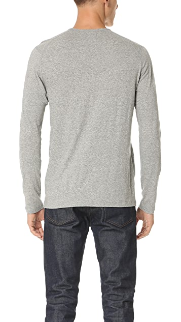Wings + Horns Silk Jersey Long Sleeve Crew Neck Tee