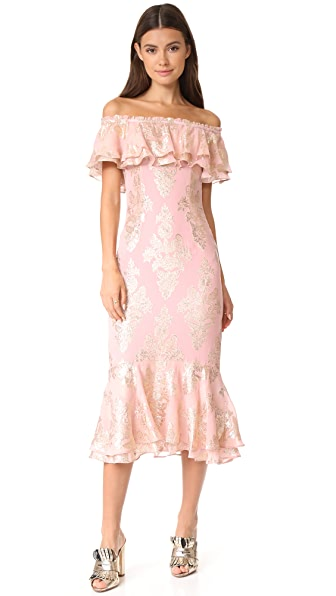 We Are Kindred Blushing Lotus Off Shoulder Dress - Dusky Pink