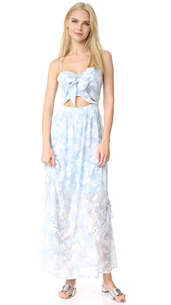 We Are Kindred Morning Frost Bow Front Dress - Bluebell