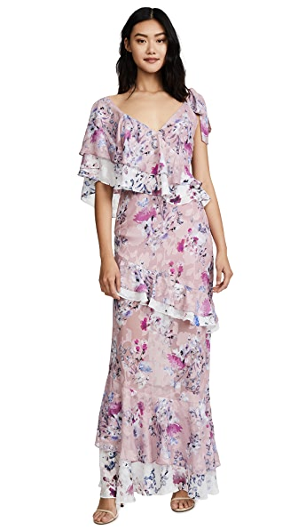 We Are Kindred Alessandra Ruffle Maxi In Monet Bloom